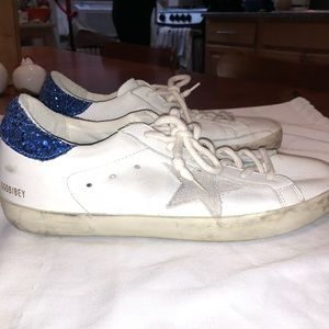Golden Goose - White and Blue Superstar Sneakers